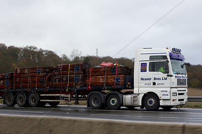 Articulated Truck on Hard Shoulder after an Accident Closes the Motorway