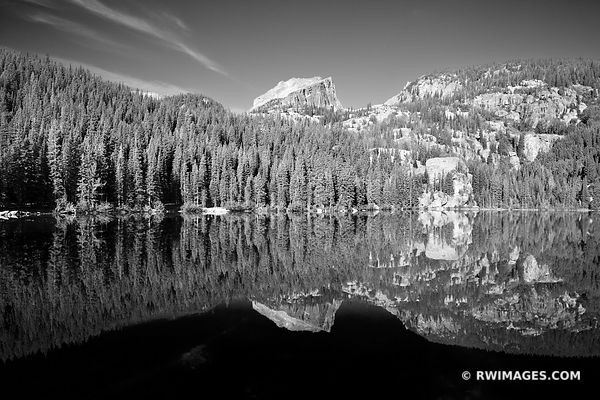 BEAR LAKE ROCKY MOUNTAIN NATIONAL PARK COLORADO BLACK AND WHITE
