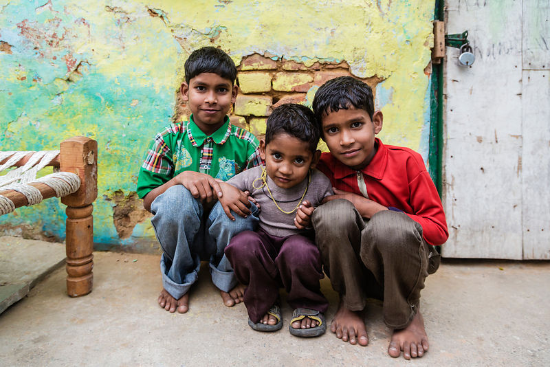Portrait of 3 Brothers in New Delhi Slum