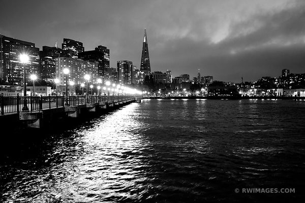 PIER 7 AT NIGHT SAN FRANCISCO SKYLINE BLACK AND WHITE