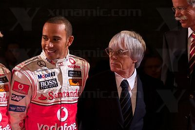 Bernie Ecclestone (GBR), Lewis Hamilton (GBR), McLaren MP4-23 Launch, Stuttgart, 7th January, 2008