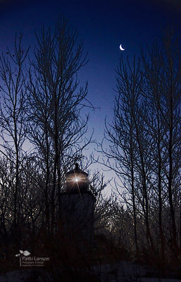 Moon Over Presque Isle Lighthouse