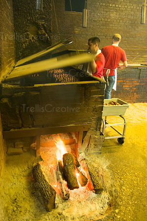 Chefs working at a smoker at Lockhart, Texas