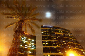 JW Marriott Hotel, palm tree and moon, Larcomar, Miraflores, Lima, Peru