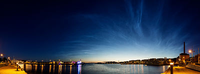 Noctilucent clouds above the harbor of Lahti.
