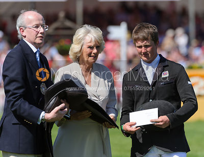 Tom McEwen receives his prizes from the Duchess of Cornwall - show jumping phase,  Mitsubishi Motors Badminton Horse Trials, ...