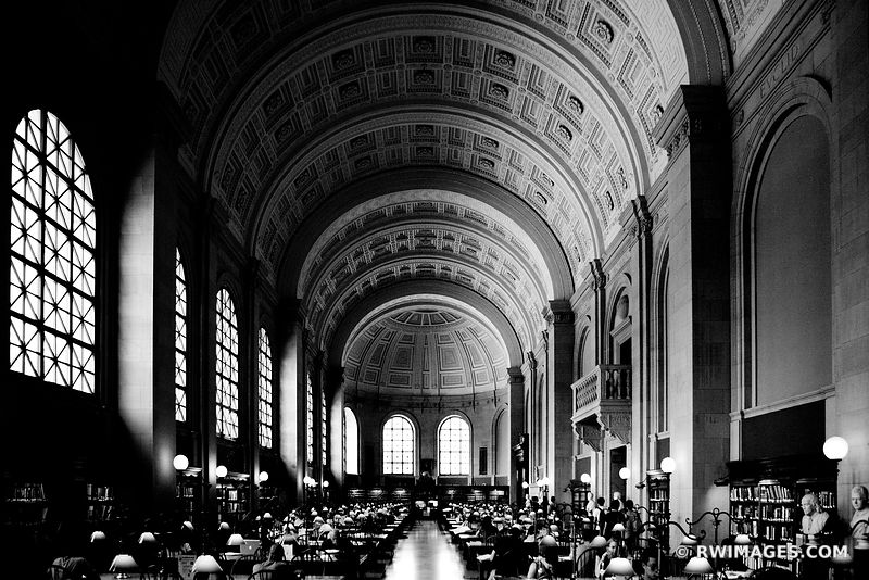 BOSTON PUBLIC LIBRARY BLACK AND WHITE