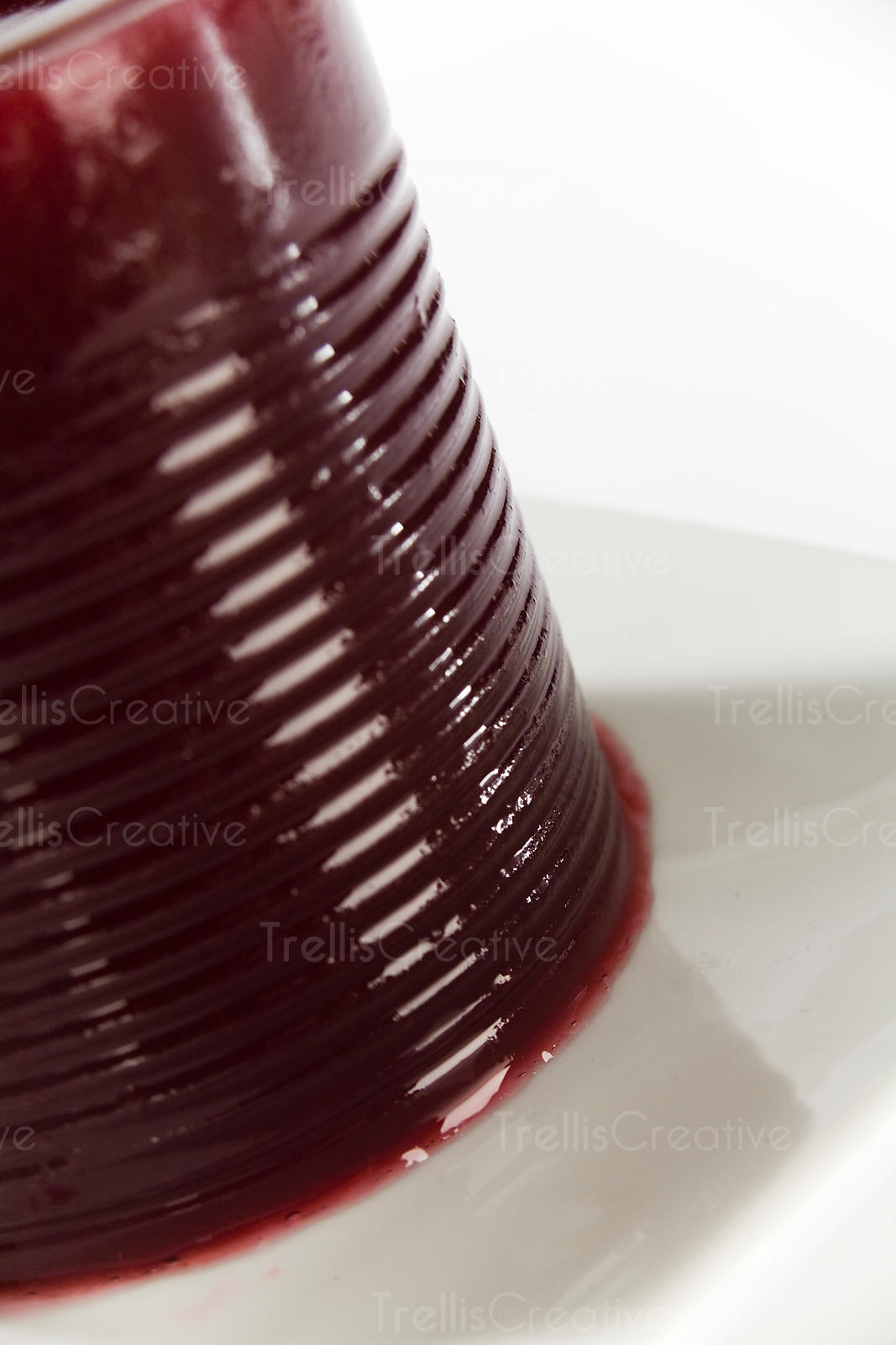 Canned cranberry sauce on a white platter