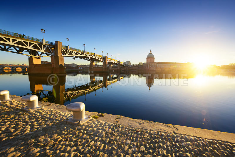 Sunset lights at Toulouse city in France