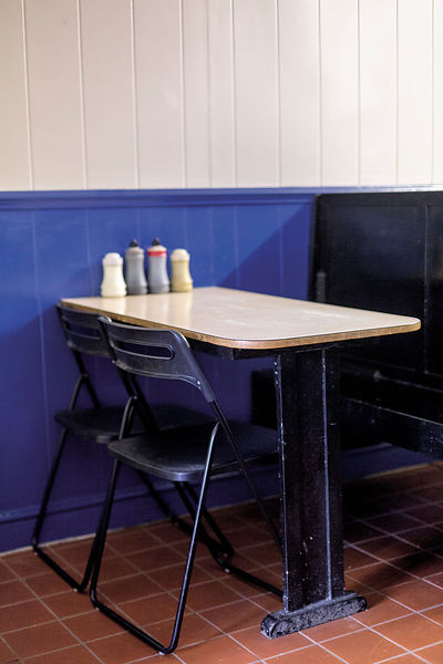 A Formica table at SR Kellys Pie and Mash shop