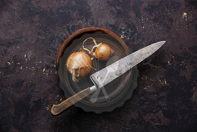 Raw bulb onion and Vintage Kitchen Knife on black background