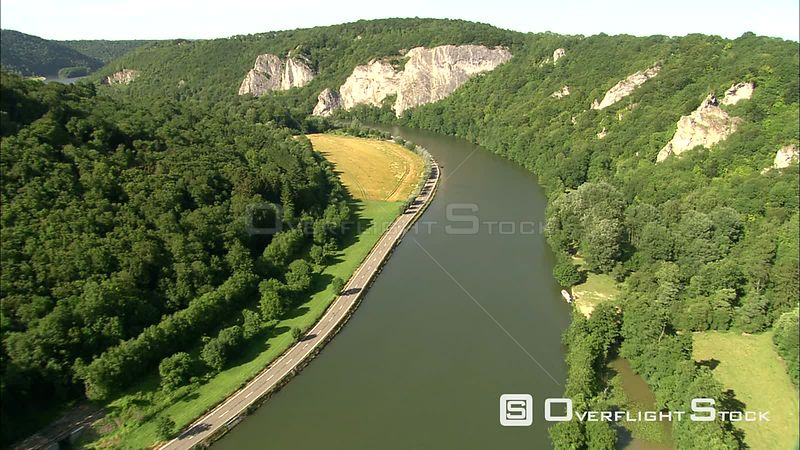 Flying along the Meuse (Maas) River to pass above the Castle of Freyer, Belgium