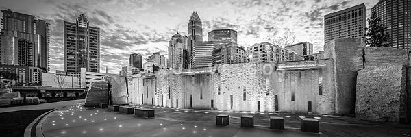 Charlotte NC Black and White Panoramic Picture