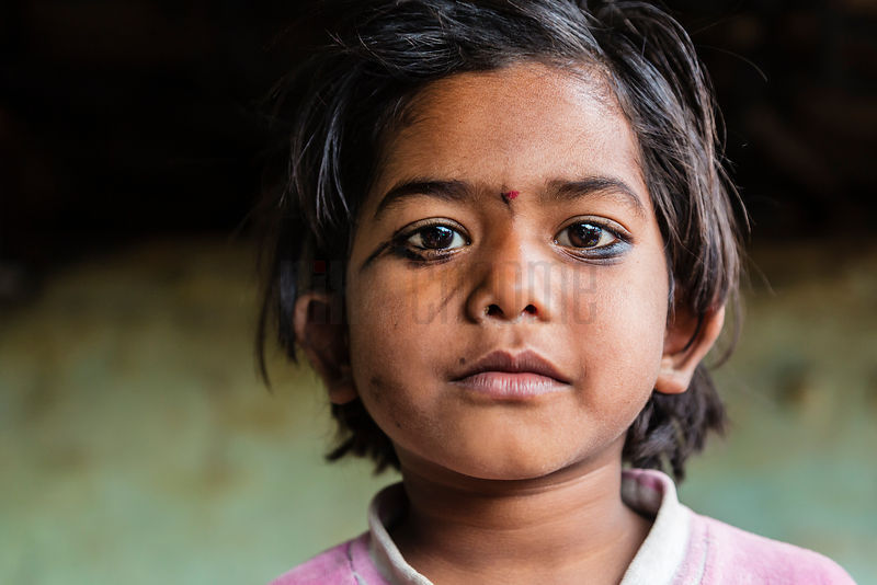 Portrait of a Young Girl in New Delhi Slum