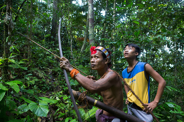 Amantari, 39, accompanied by his son Lagaï, 13, hunting with his bow and poisoned arrows, Pulau Siberut, Sumatra, Indonesia