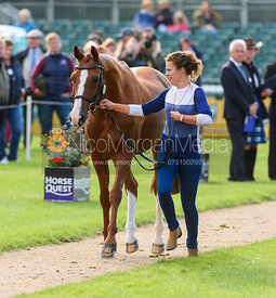 Polly Jackson Griffin and PAPILLON at the trot up, Land Rover Burghley Horse Trials 2018