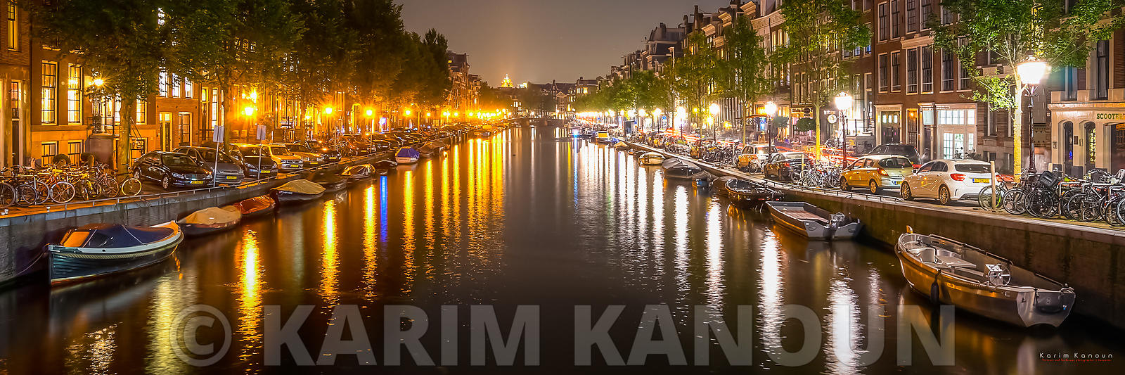 Panorama - Amsterdam canal by night