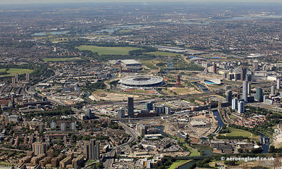 looking along  the Lee Valley showing the Queen Elizabeth Olympic Park, and surrounding areas of Bow and Stratford