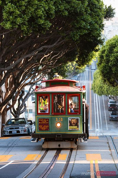 Cable car on the hills of San Francisco, California, USA