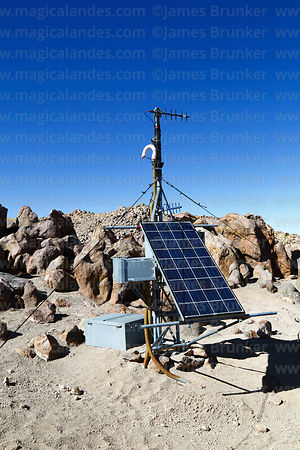 Solar powered volcano monitoring station on Guallatiri volcano, Lauca National Park, Region XV, Chile