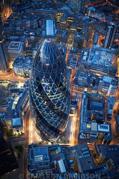 Aerial of the Gherkin, London, in the evening.