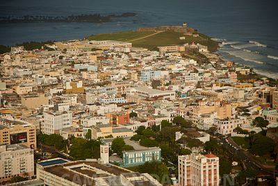 Aerial photograph of Old San Juan, Puerto rico before a storm