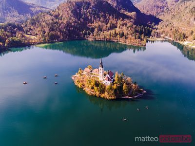 Aerial drone view of Bled lake in autumn, Slovenia