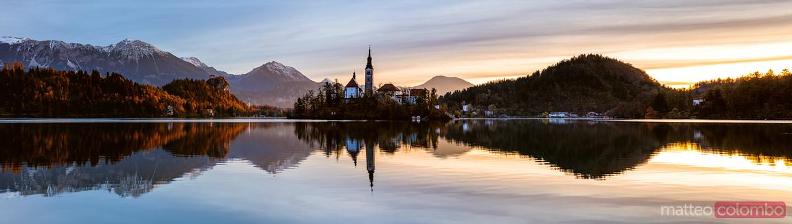 Bled lake panoramic, Upper Carniola, Slovenia