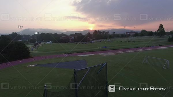 Aerial of American Football Practice At Sunrise