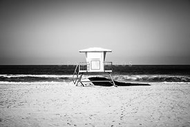 California Lifeguard Tower Black and White Picture