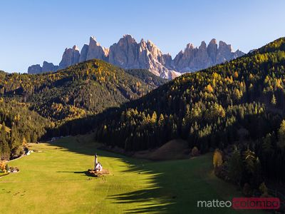 Aerial drone view of small church, Funes, Dolomites, Italy