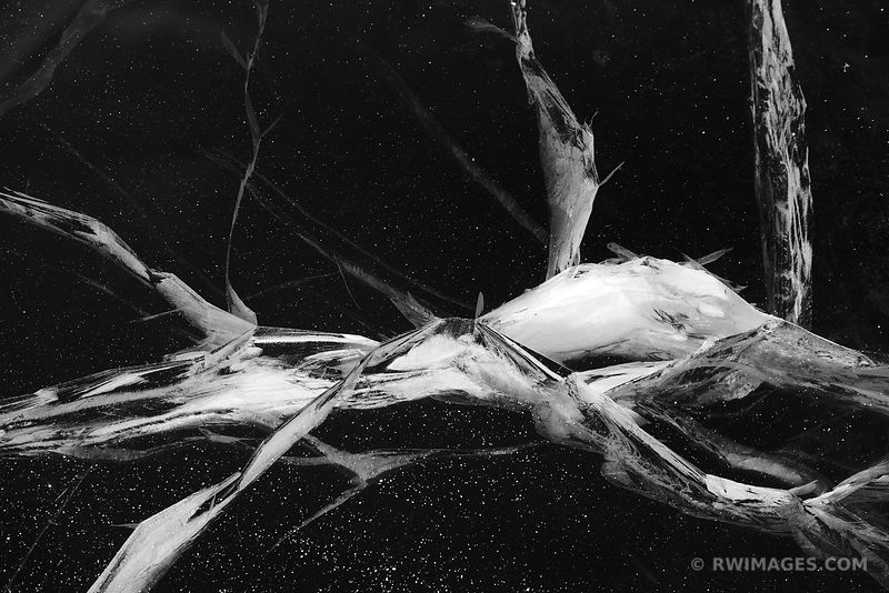 WINTER DREAMS CRACKIN ICE FROZEN LAKE MICHIGAN ABSTRACT NATURE BLACK AND WHITE