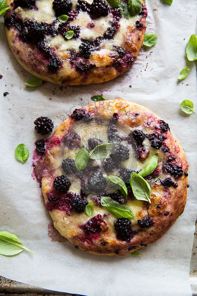 A rustic blackberry pizza