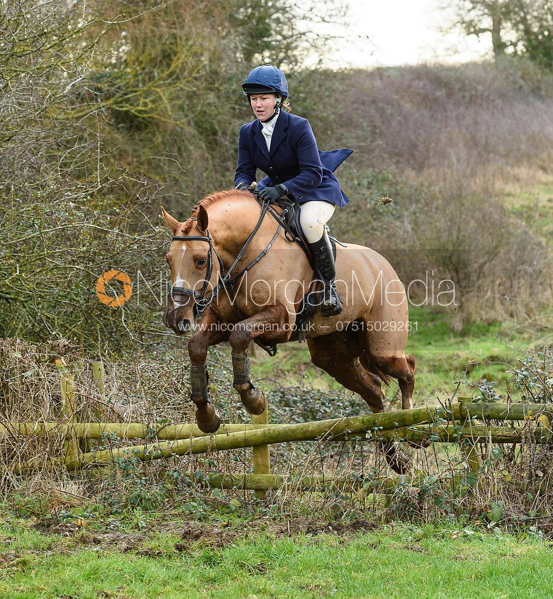 Emilie Chandler Jumping a rail at Mrs Greenall's covert. The Belvoir Hunt meet at Waltham House 22/12
