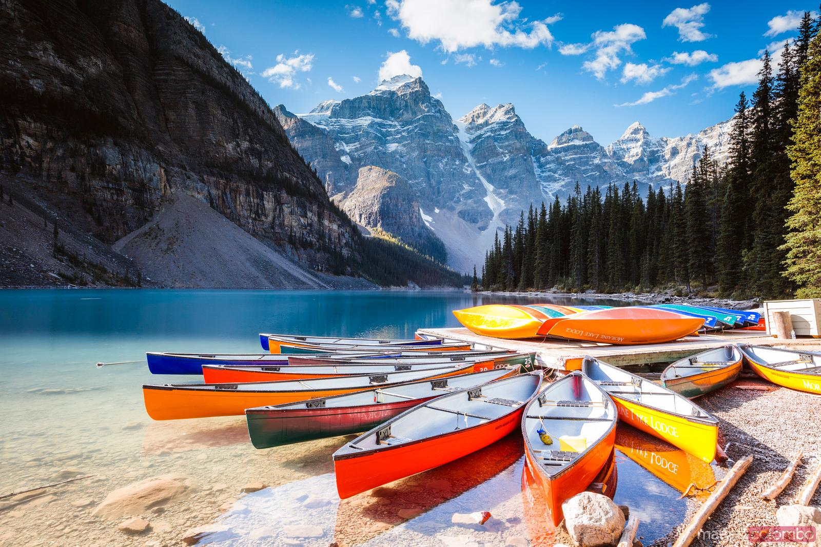 Matteo Colombo Travel Photography Colorful Canoes Moraine