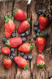 Strawberries and blueberries on bark