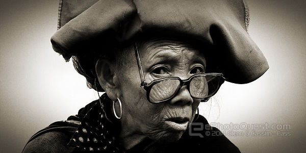 Older woman from Red Zhao tribal community, monochrome