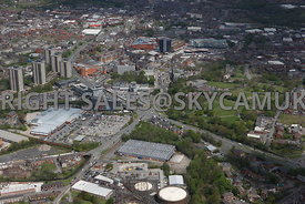 Rochdale high level aerial photograph of the A58 Manchester road looking down The Esplanade towards the town centre
