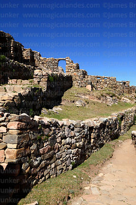 Stone walls in the Chincana Inca ruins, Sun Island, Lake Titicaca, Bolivia