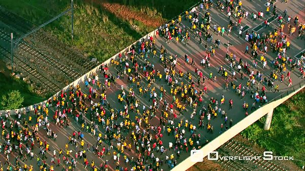 Aerial shot of a crowd of people entering FNB Stadium (Soccer City). Johannesburg Gauteng South Africa