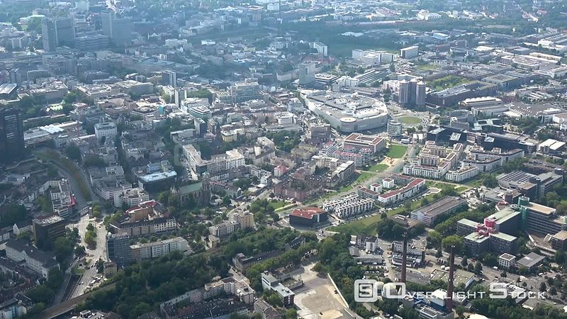 City view of the downtown area and the Green Center in Essen in the state of North Rhine-Westphalia, Germany