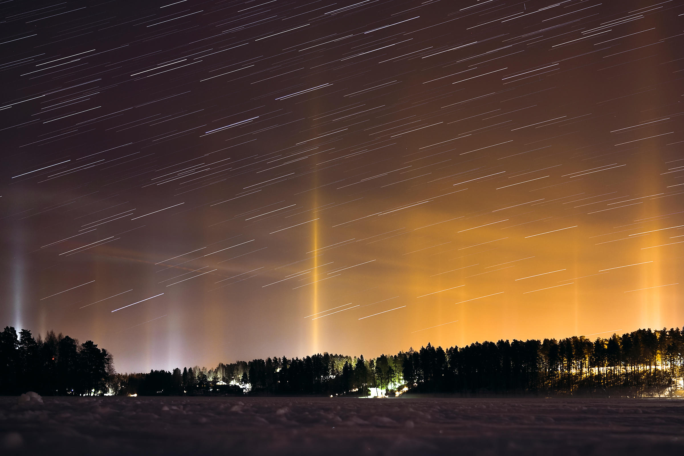 Light pillars above Southern Finland on February 22 2018.
