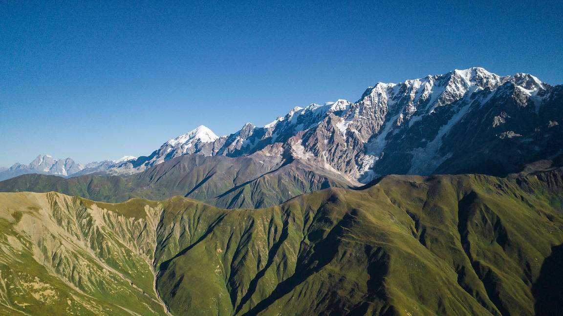 Aerial View of Ushba, Elbrus (Russia), Tetnuldi and Shkara