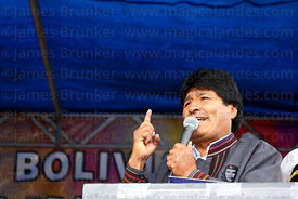 Bolivian president Evo Morales speaks at an event to celebrate Bolivia rejoining the 1961 UN Single Convention on Narcotic Dr...