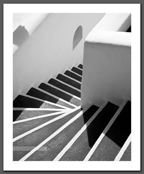 Santorini Steps II - Black and White Print.(BP4082)