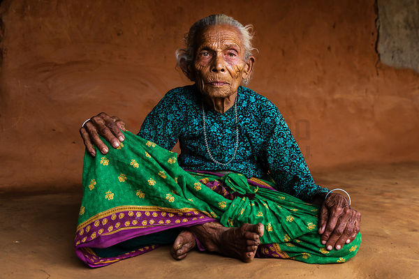 Portrait of a 95-year old Woman from the Tamang Tribe