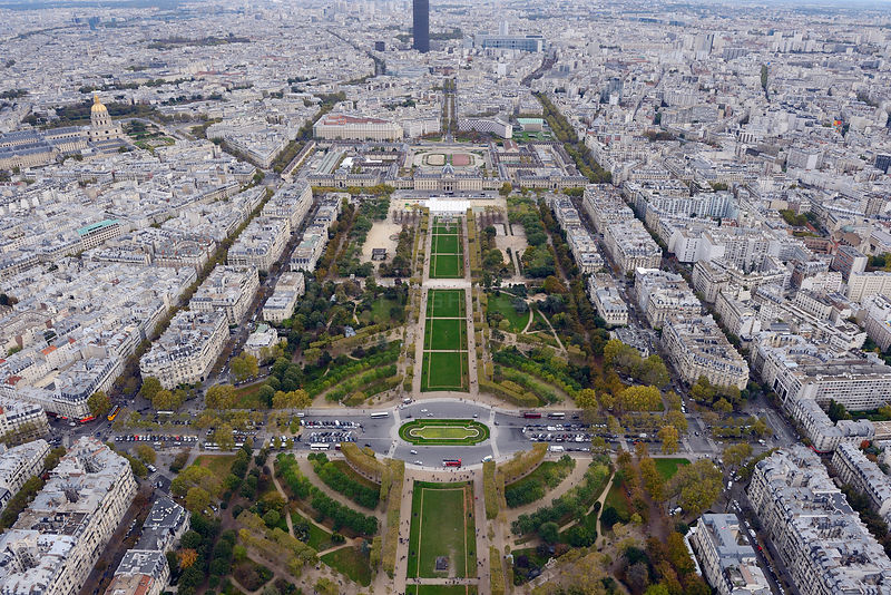 View from the Eiffel Tower of Champ de Mars, Paris, France, November 2013.