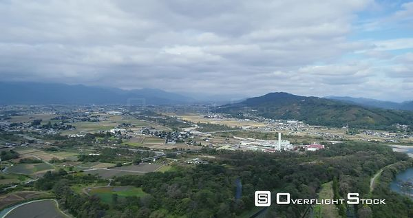 Drone shot above Daio Wasabi Farm showcasing the mountain ranges. Azumino Nagano Japan