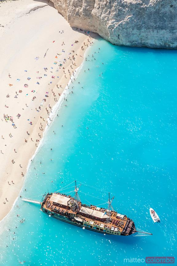 Aerial view of beach in summer with people. Zakynthos, Greek Islands, Greece