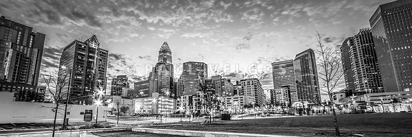 Charlotte Skyline Black and White Panorama Photo